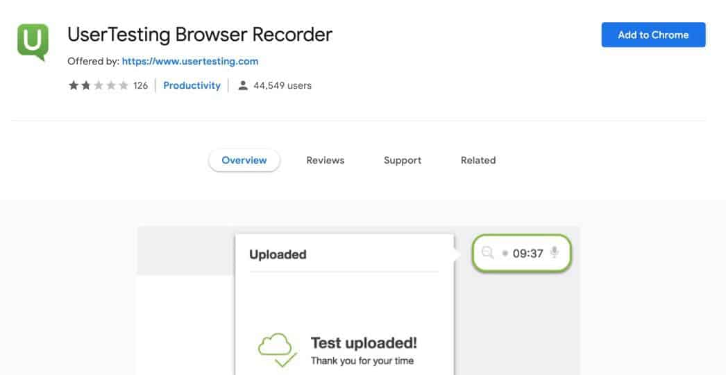 UserTesting browser recorder